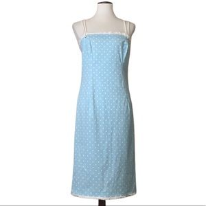 ESCADA Vintage Blue Rope Dots Summer Dress 38